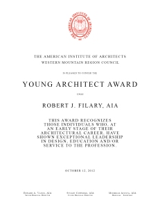 Young Architect Award - Robert J. Filary, AIA